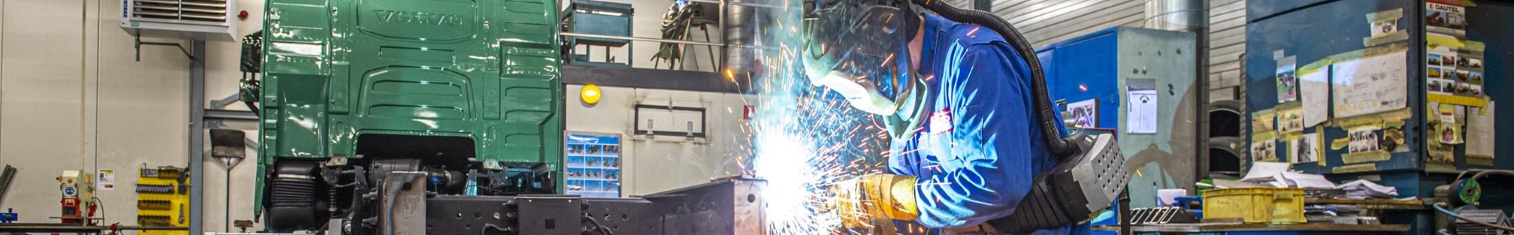 Hard working welder